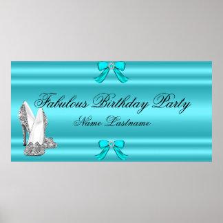 Bandera de plata azul del cumpleaños de los póster