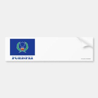Bandera de Pohnpei, con nombre Pegatina Para Auto