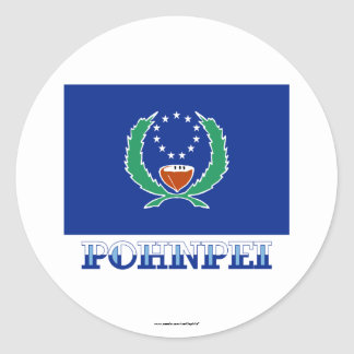 Bandera de Pohnpei, con nombre Pegatina Redonda
