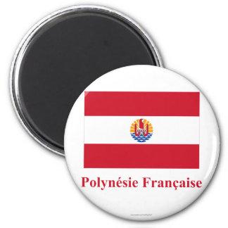 Bandera de Polinesia francesa con nombre en francé Imán Redondo 5 Cm