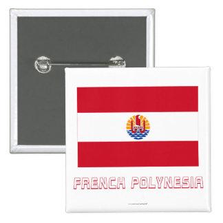 Bandera de Polinesia francesa con nombre Pins