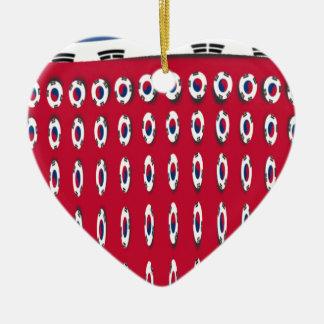 Bandera de PolkaDot de la Corea del Sur Adorno De Cerámica En Forma De Corazón