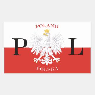 Bandera de Polonia del blanco Eagle de Polska Pegatina Rectangular