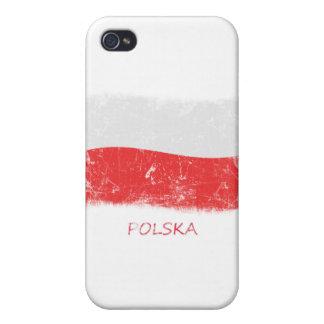 Bandera de Polonia del Grunge iPhone 4/4S Fundas