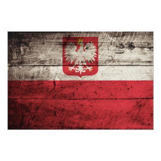 Bandera de Polonia en grano de madera viejo Impresiones Fotograficas