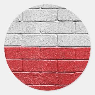 Bandera de Polonia Pegatina Redonda