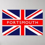 Bandera de Portsmouth Reino Unido Póster