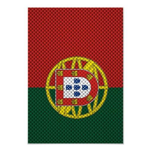 """Bandera de Portugal con efecto de la fibra de Invitación 3.5"""" X 5"""""""