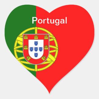 Bandera de Portugal Pegatina De Corazon Personalizadas