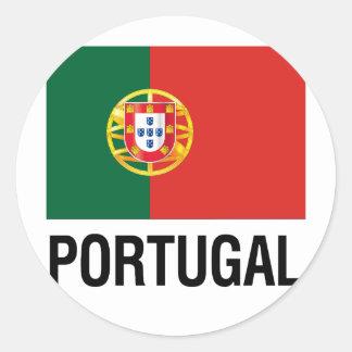BANDERA de PORTUGAL Pegatina Redonda