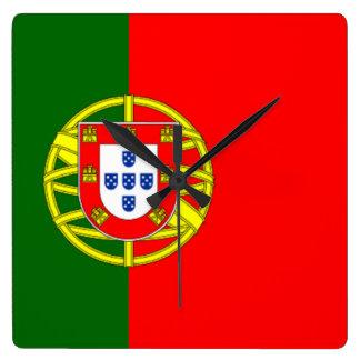 Bandera de Portugal Reloj Cuadrado