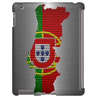 Bandera de Portugal y agujero de acero del metal d Funda Para iPad