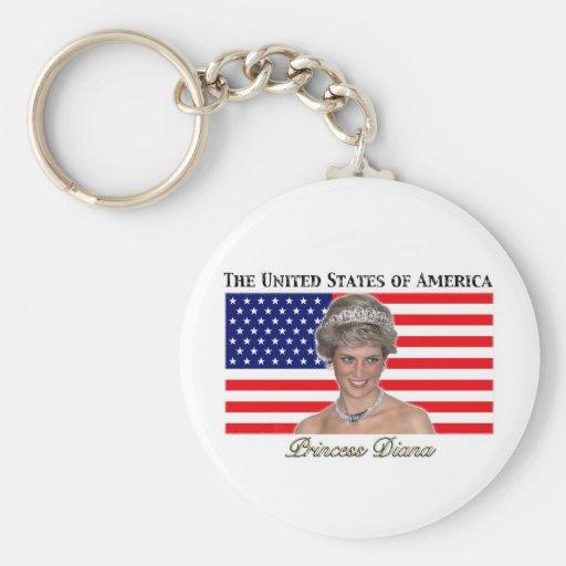 Bandera de princesa Diana los E.E.U.U. Llavero Personalizado