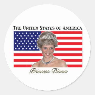 Bandera de princesa Diana los E.E.U.U. Etiqueta Redonda