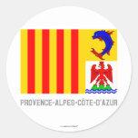 Bandera de Provence-Alpes-Côte-d'Azur con nombre Etiquetas Redondas