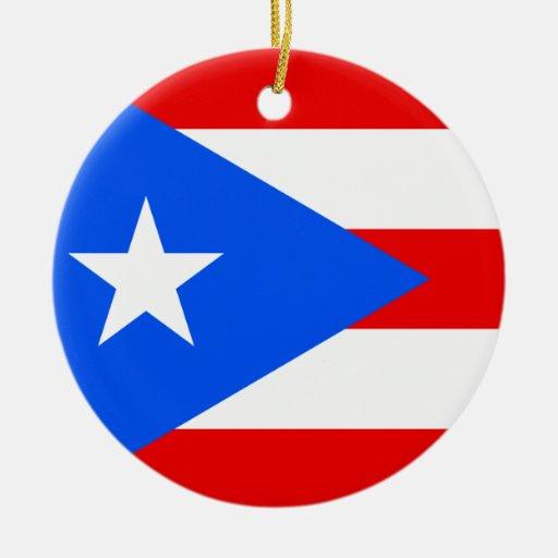 Bandera de Puerto Rico Adorno Navideño Redondo De Cerámica