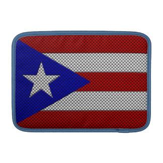 Bandera de Puerto Rico con efecto de la fibra de c Funda Para Macbook Air