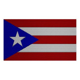 Bandera de Puerto Rico con efecto de la fibra de c Tarjetas De Visita