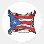 Bandera de Puerto Rico de Reggaeton Etiqueta Redonda