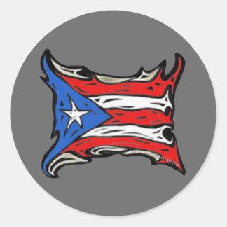 Bandera de Puerto Rico de Reggaeton Etiquetas Redondas