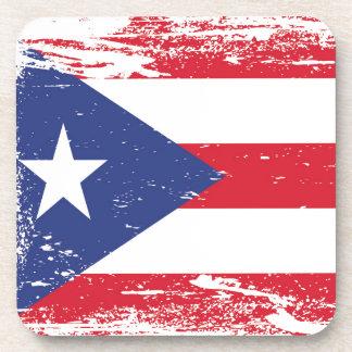 Bandera de Puerto Rico del Grunge Posavaso