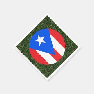 Bandera de Puerto Rico en hierba Servilletas Desechables