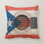 Bandera de Puerto Rico en la guitarra acústica Cojin