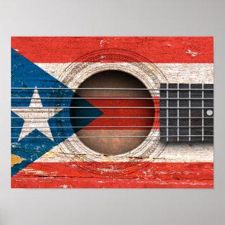 Bandera de Puerto Rico en la guitarra acústica Poster