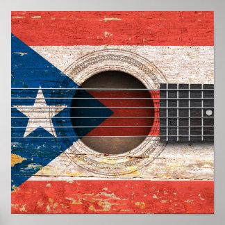 Bandera de Puerto Rico en la guitarra acústica Impresiones