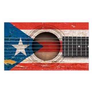Bandera de Puerto Rico en la guitarra acústica Tarjetas De Visita