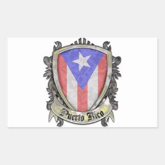 Bandera de Puerto Rico - escudo del escudo Pegatina Rectangular