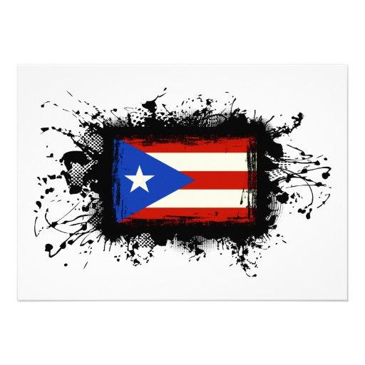 Bandera de Puerto Rico Invitacion Personal