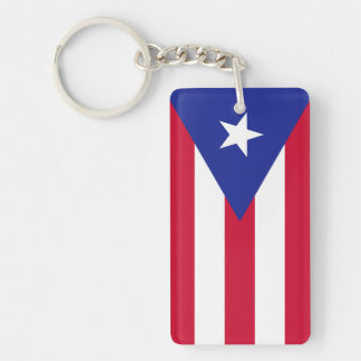 Bandera de Puerto Rico Llavero Rectangular Acrílico A Doble Cara