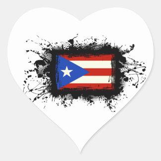 Bandera de Puerto Rico Pegatina En Forma De Corazón