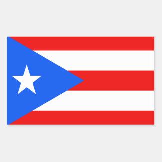 Bandera de Puerto Rico Pegatina Rectangular