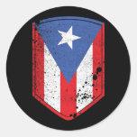 Bandera de Puerto Rico Pegatina Redonda