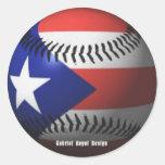 Bandera de Puerto Rico que cubre un béisbol Etiqueta Redonda