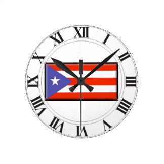 Bandera de Puerto Rico Relojes De Pared