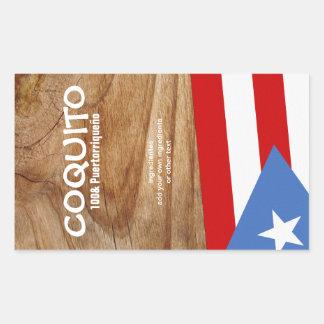 Bandera de Puertorriqueno del Coquito Pegatina Rectangular