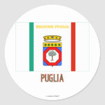 Bandera de Puglia con nombre Pegatina Redonda