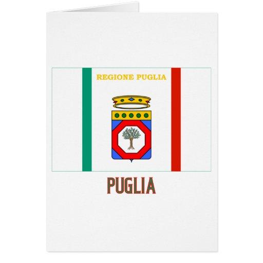 Bandera de Puglia con nombre Tarjeta De Felicitación