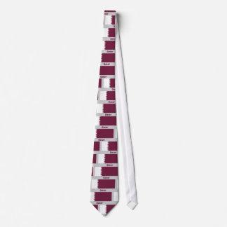Bandera de Qatar con nombre Corbata Personalizada