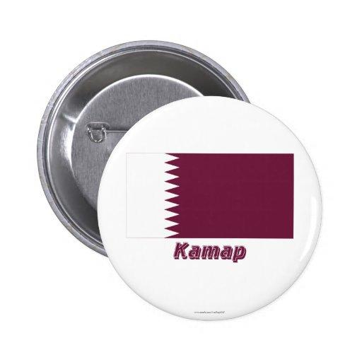 Bandera de Qatar con nombre en ruso Pin