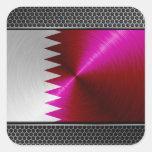 bandera de Qatar de la Metal-mirada Calcomanías Cuadradass Personalizadas