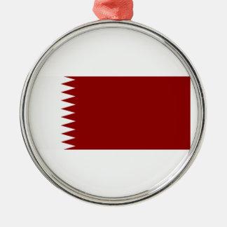 Bandera de Qatar Adorno Redondo Plateado