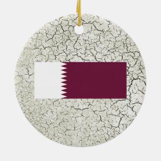 Bandera de Qatar Adorno Redondo De Cerámica