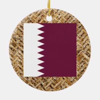 Bandera de Qatar en la materia textil temática Adorno Redondo De Cerámica