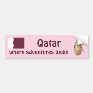 Bandera de Qatar + Pegatina para el parachoques de Pegatina De Parachoque