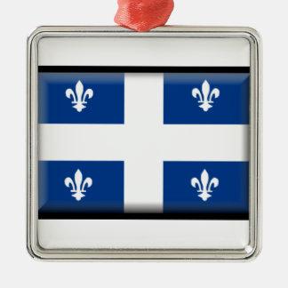 Bandera de Quebec (Canadá) Adorno Cuadrado Plateado