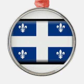 Bandera de Quebec (Canadá) Adorno Redondo Plateado